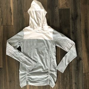 Athleta, grey/white athletic fitted hoodie